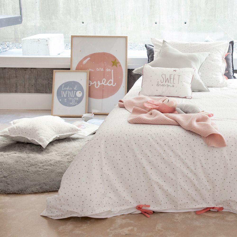 Funda nordica cama estrellas lazos coral vestir cunas y for Funda nordica cama 80