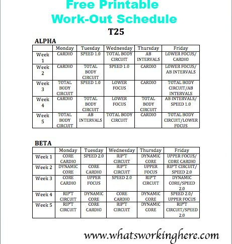 photo about T25 Schedule Printable titled Pin upon Whats Doing the job In this article