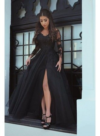 Photo of Modern Long Sleeves Evening Dresses With Lace Chiffon A Line Evening Dresses Prom Dresses Model Number: LH-171-BA6538