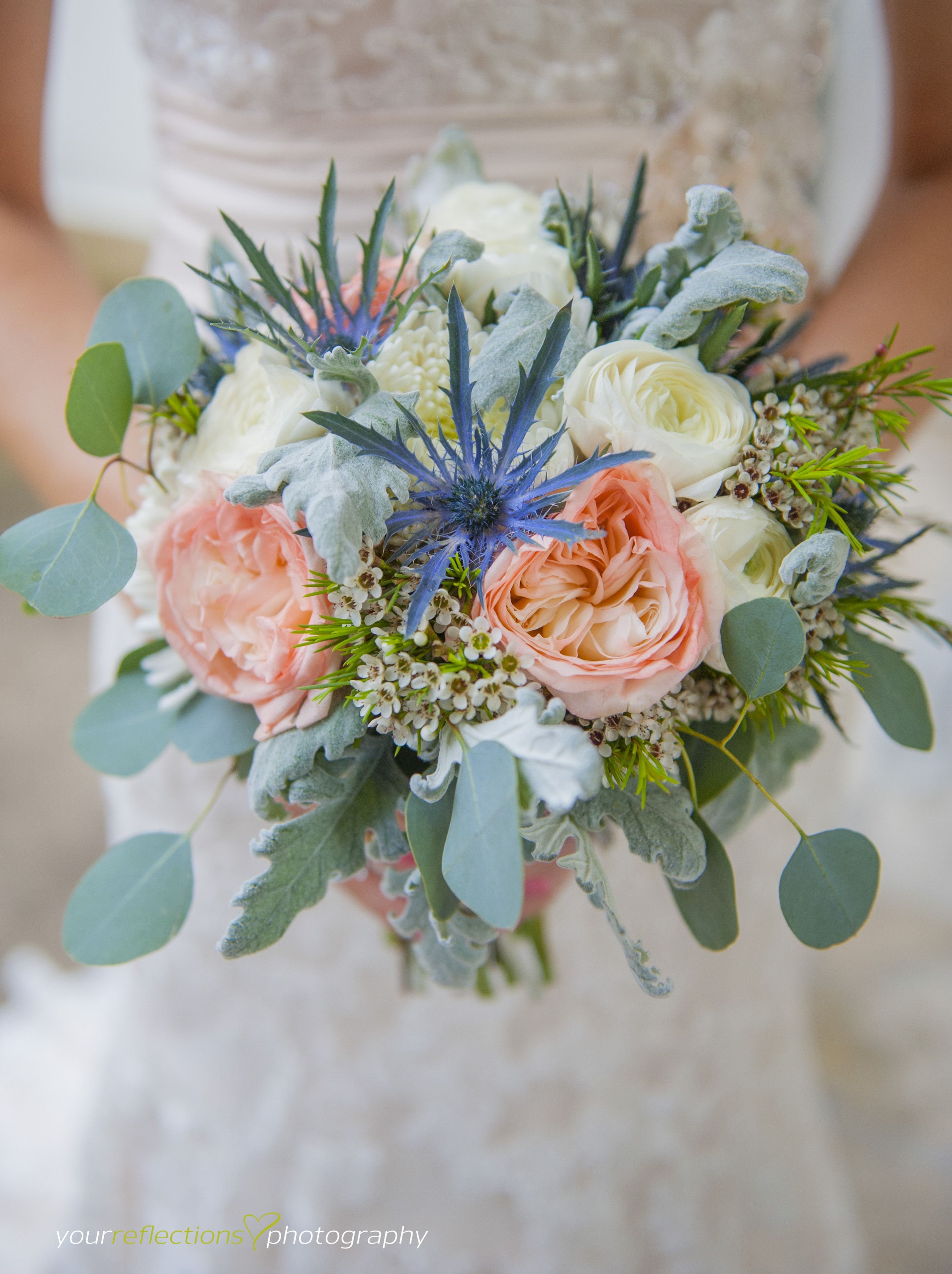 Unique bridal bouquet - peach blue and ivory - seeded ...