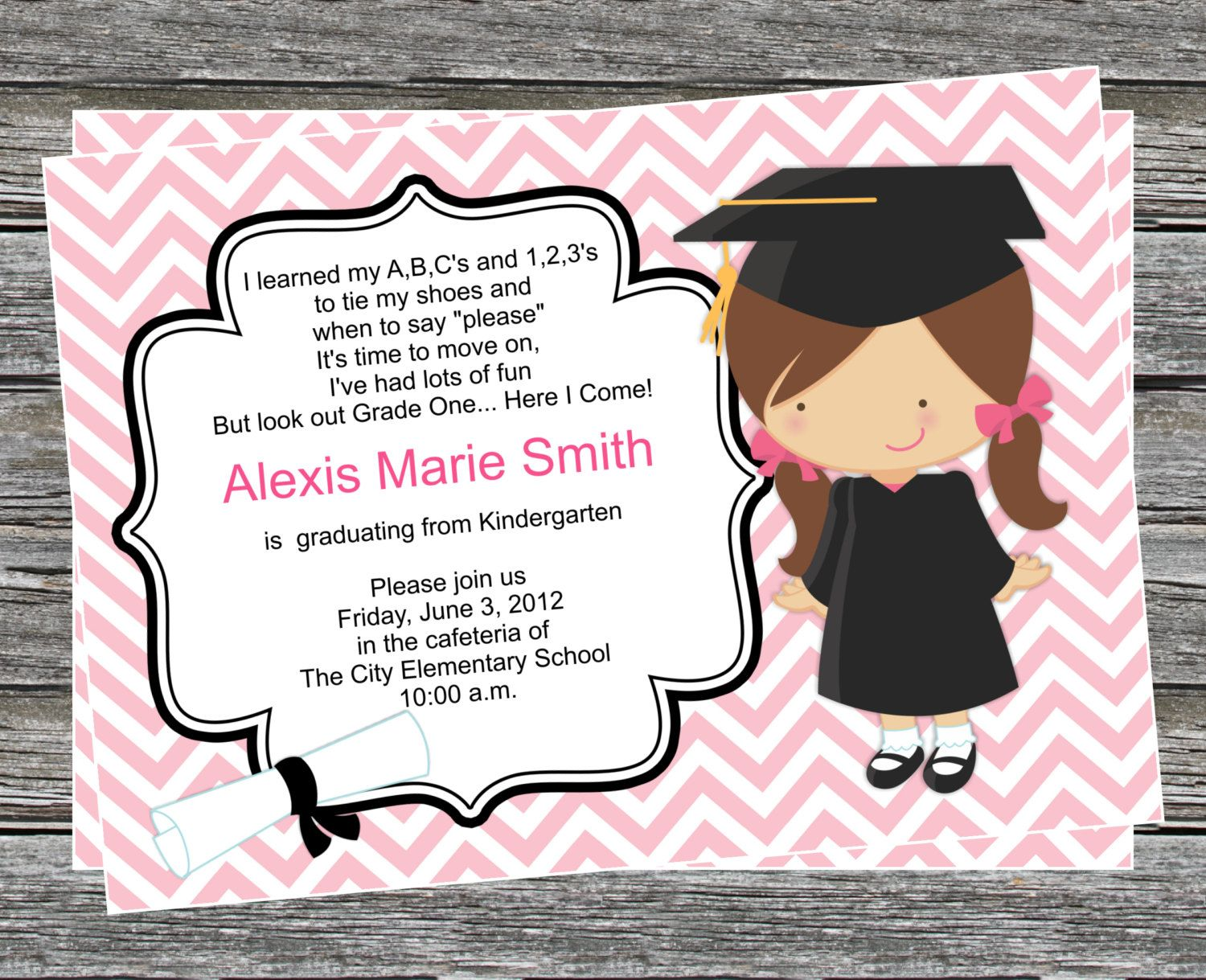 Pre K Or Kindergarten Graduation Invitation Boy And Girl Versions