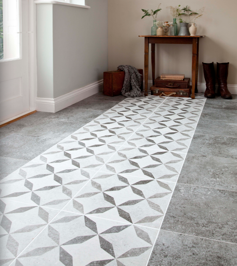 Concrete Floor With A Feature Tile In The Middle Could Be Nice For The Hallway Like A Tile