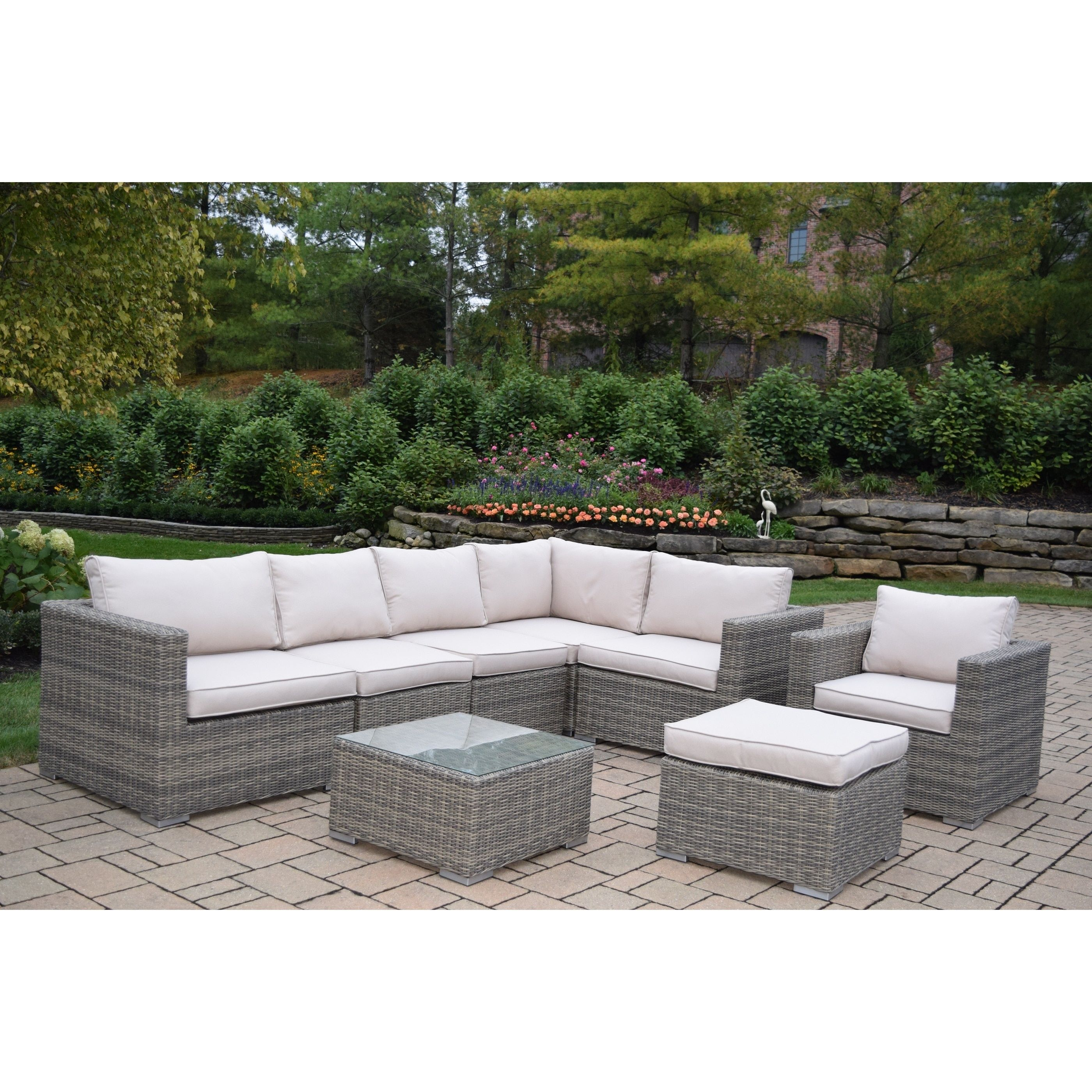 kalapana resin wicker 8 pc deep seat set with cushioned sectional