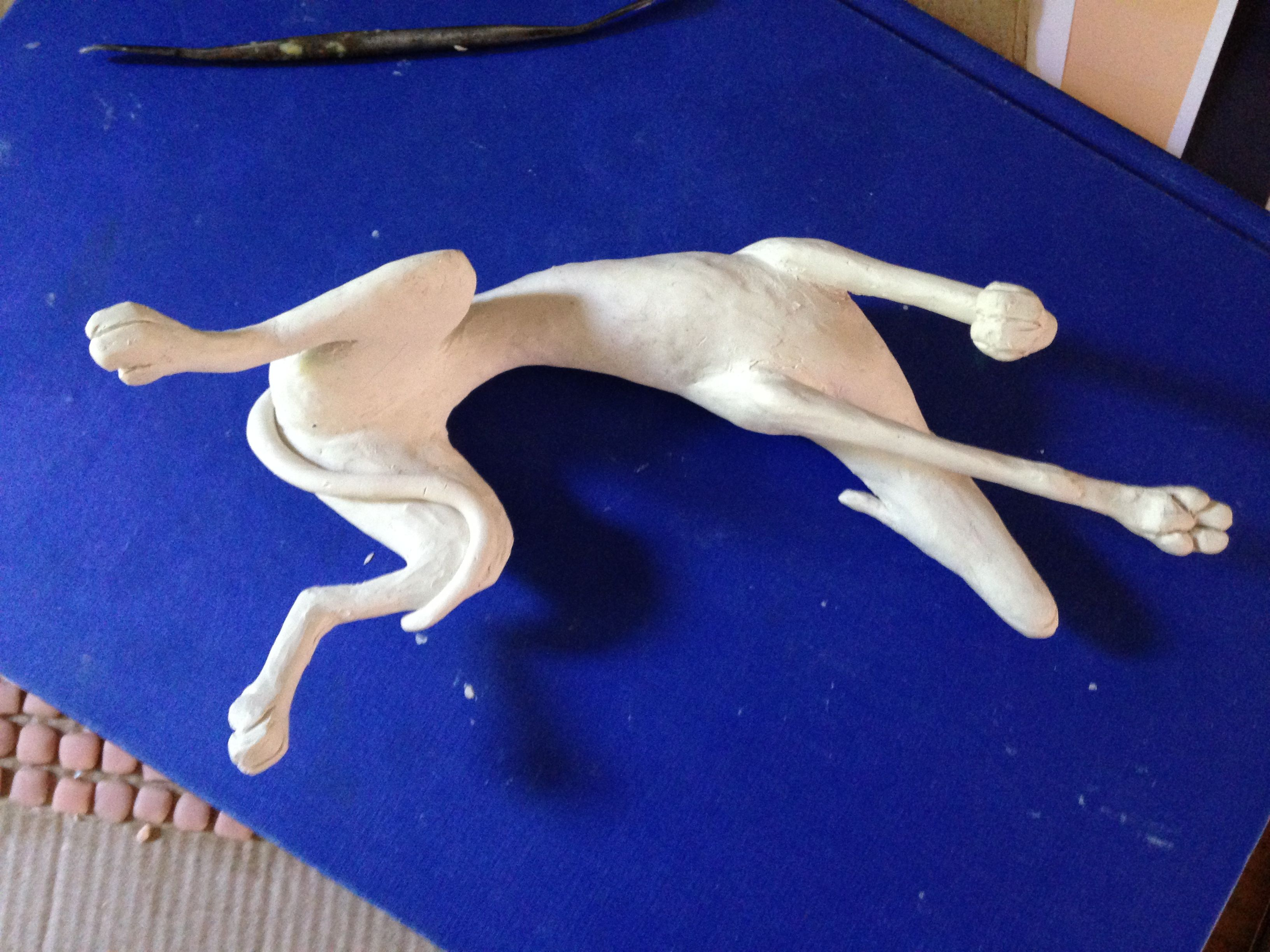 Roaching Greyhound - will be finished in bronze resin and copper resin