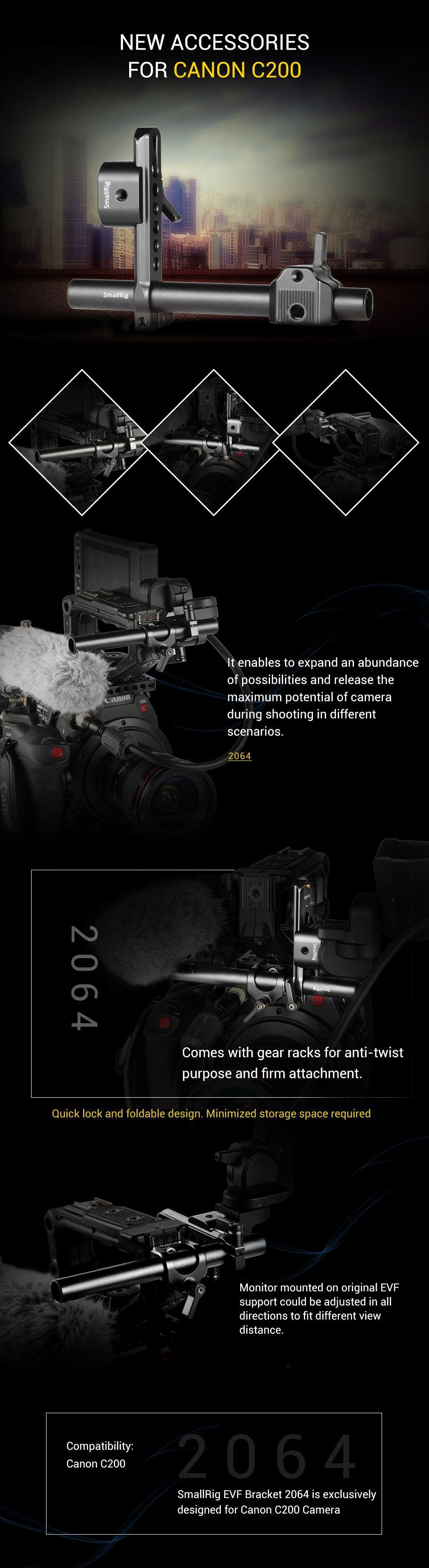 EVF Bracket for Canon C200 Camera 2064 | Canon C100/C200/C300/C300