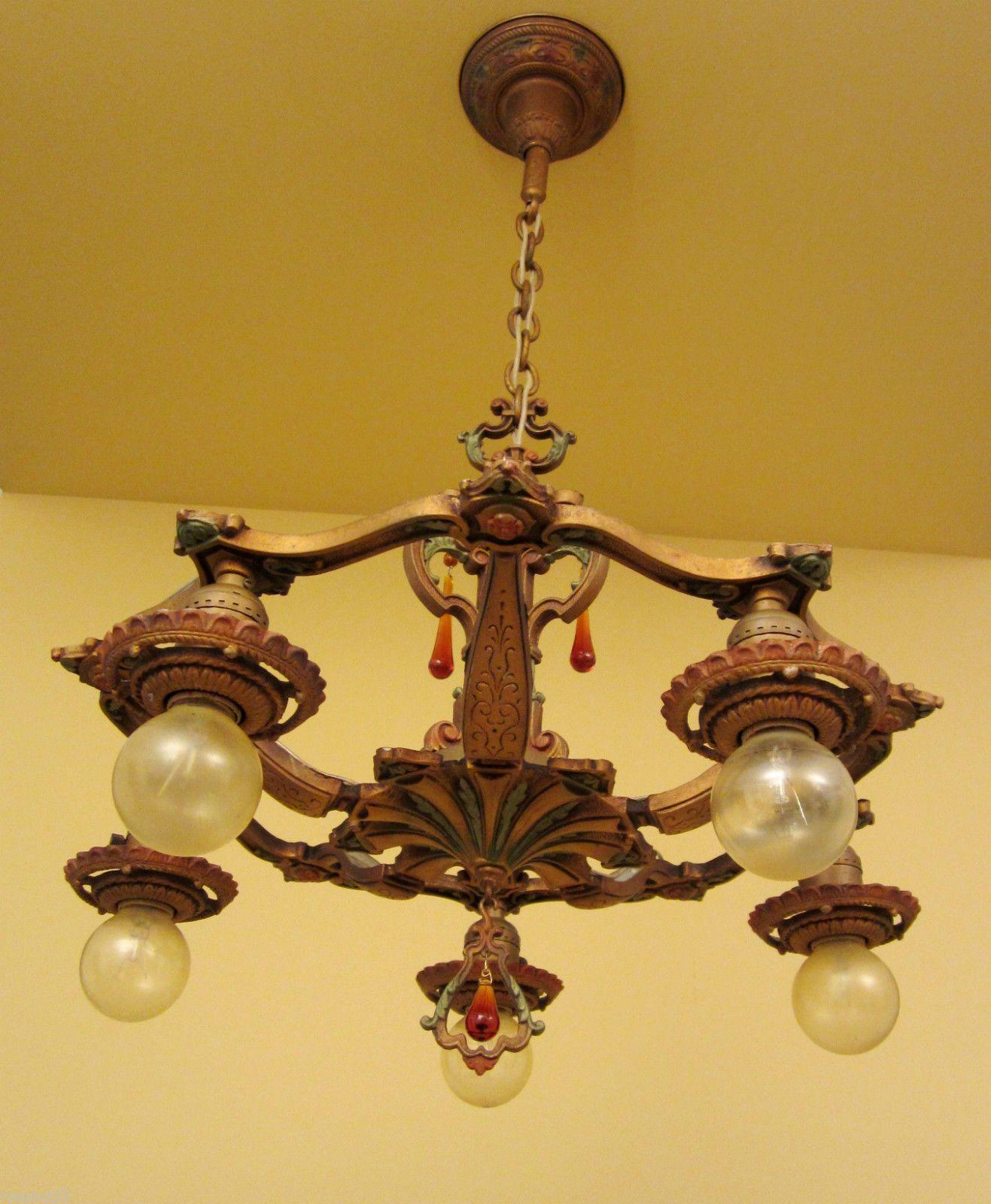Vintage lighting antique 1920s chandelier luscious original vintage lighting antique 1920s chandelier luscious original polychrome arubaitofo Gallery