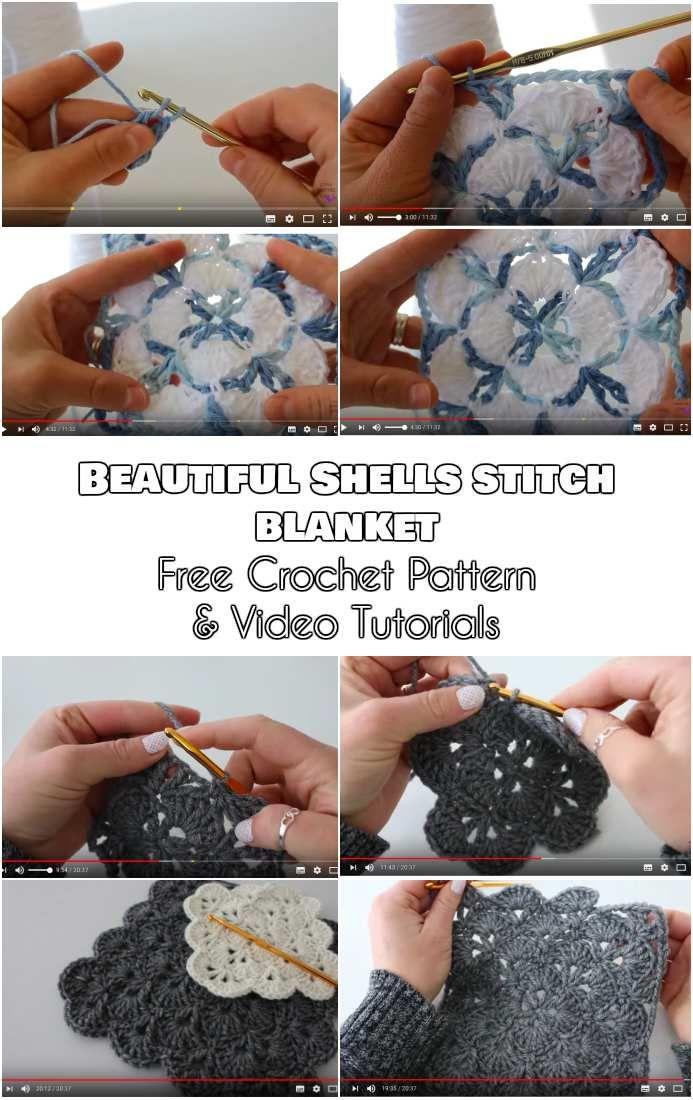 Beautiful Shells Stitch Blanket [Free Crochet Pattern and Video ...