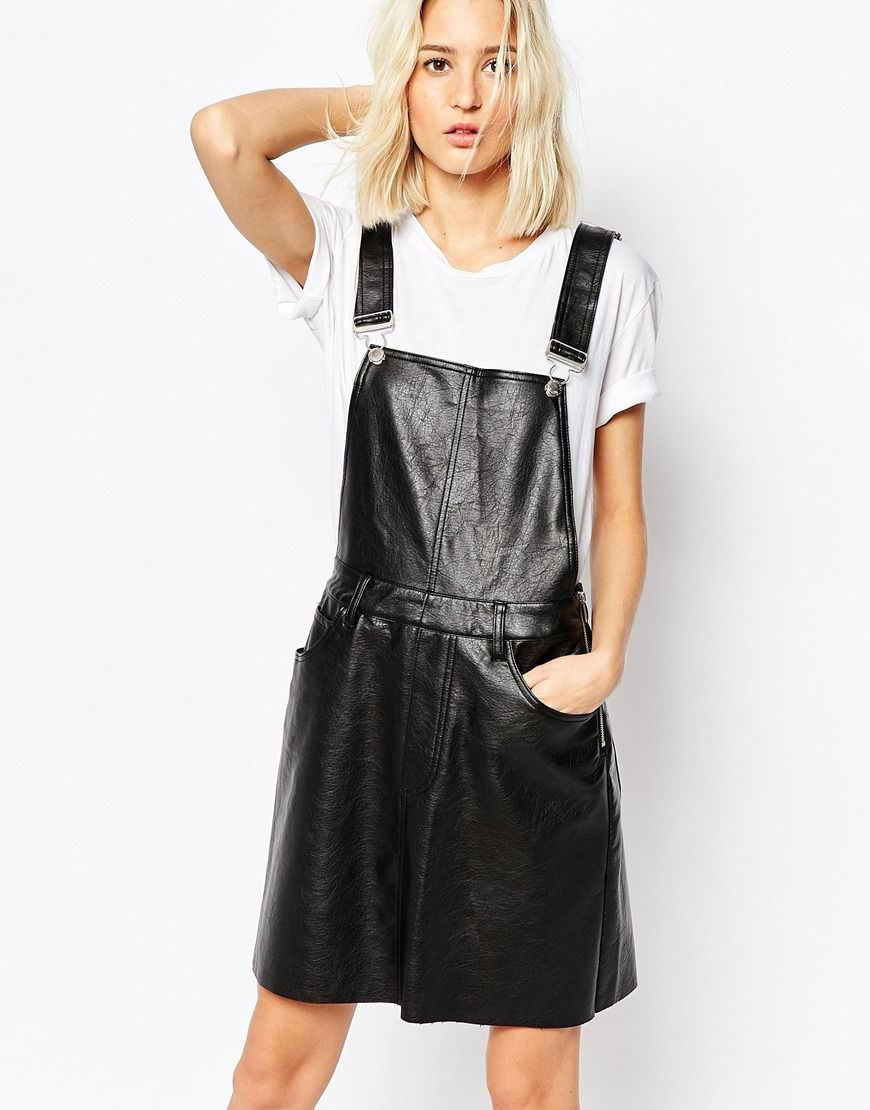 82b1fd9b2 Cheap Monday Leather Look Pinafore Dress | Clothes: Dresses/Skirts ...