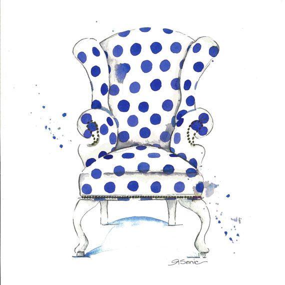Cobalt Blue Polka Dot Chair Print Limezinniasdesign Assorted Sizes Available With Images Art Chair Printed Chair Pink Chair