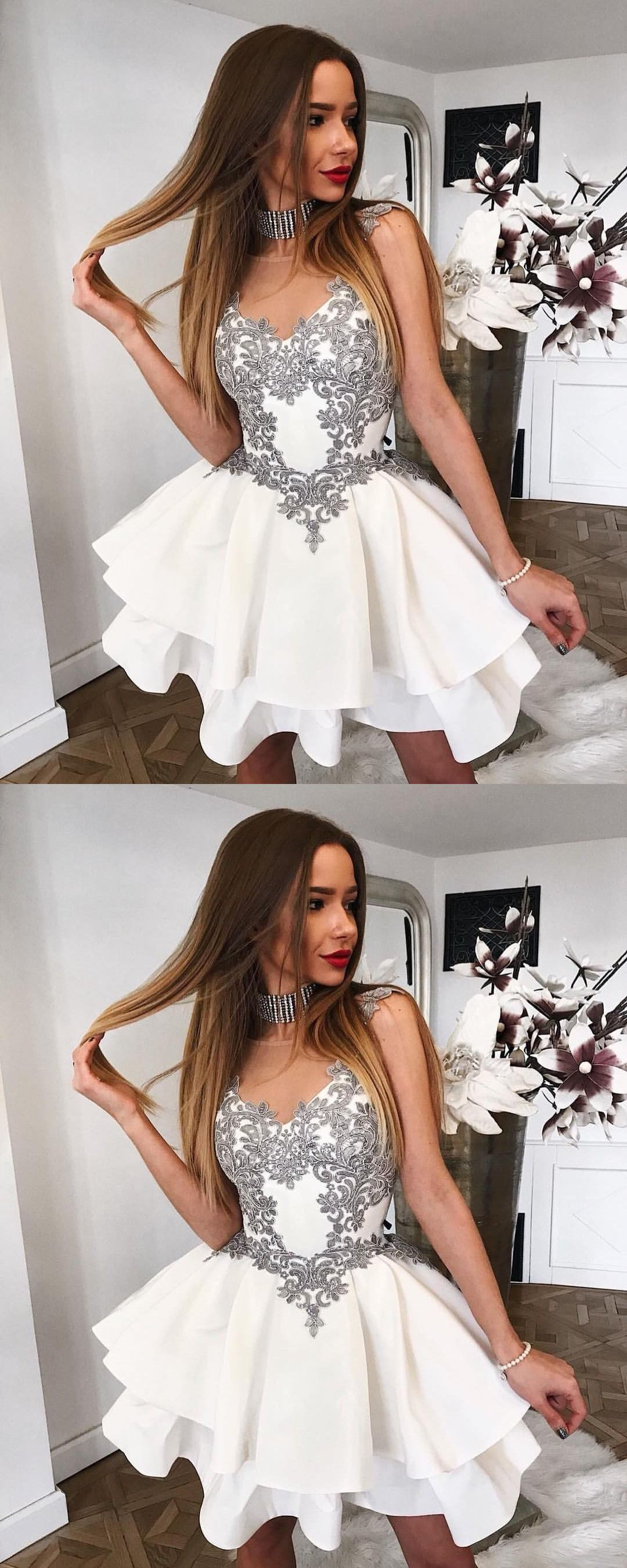 Aline round neck short white tiered homecoming dress with appliques