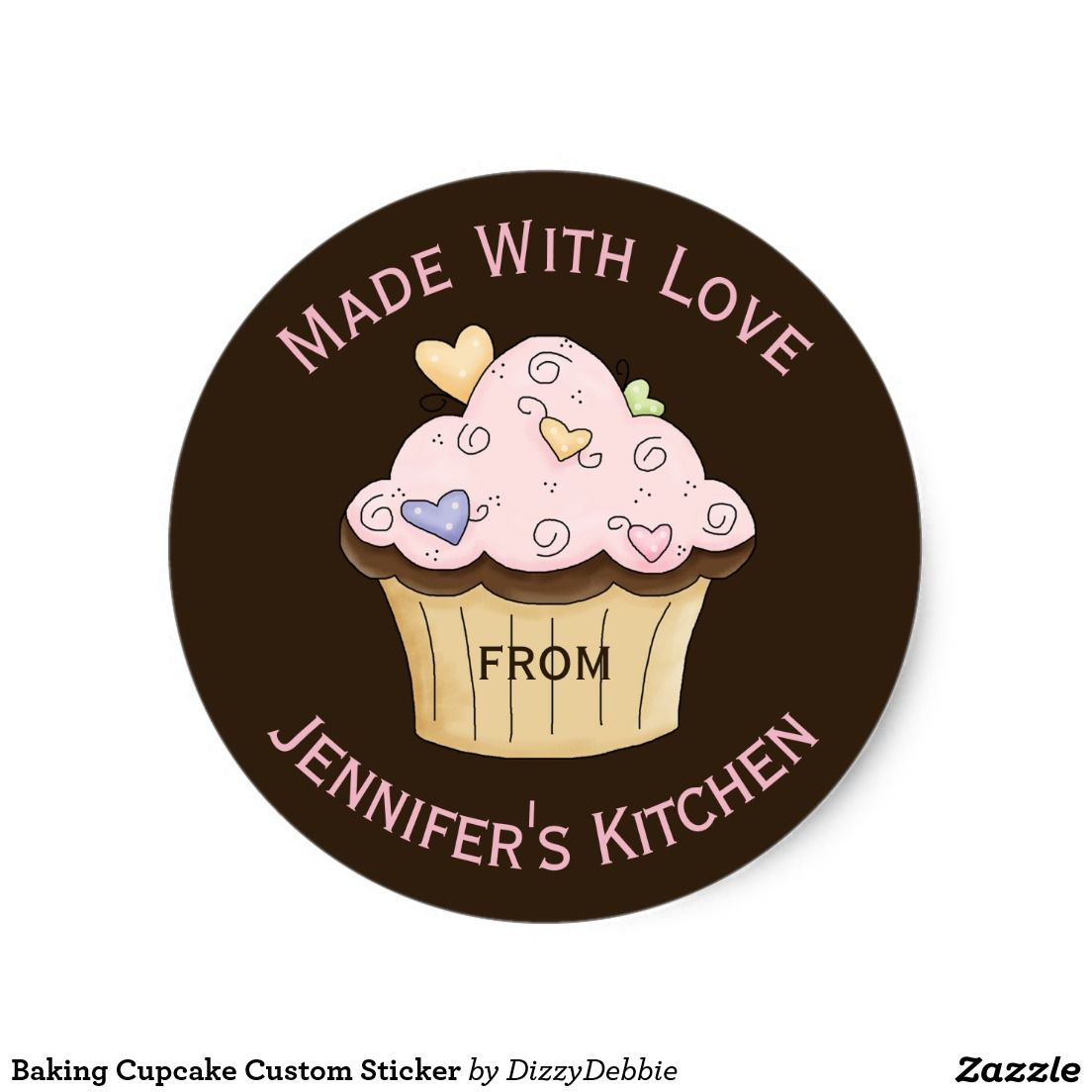 Baking cupcake custom sticker zazzle com in 2019 custom baking