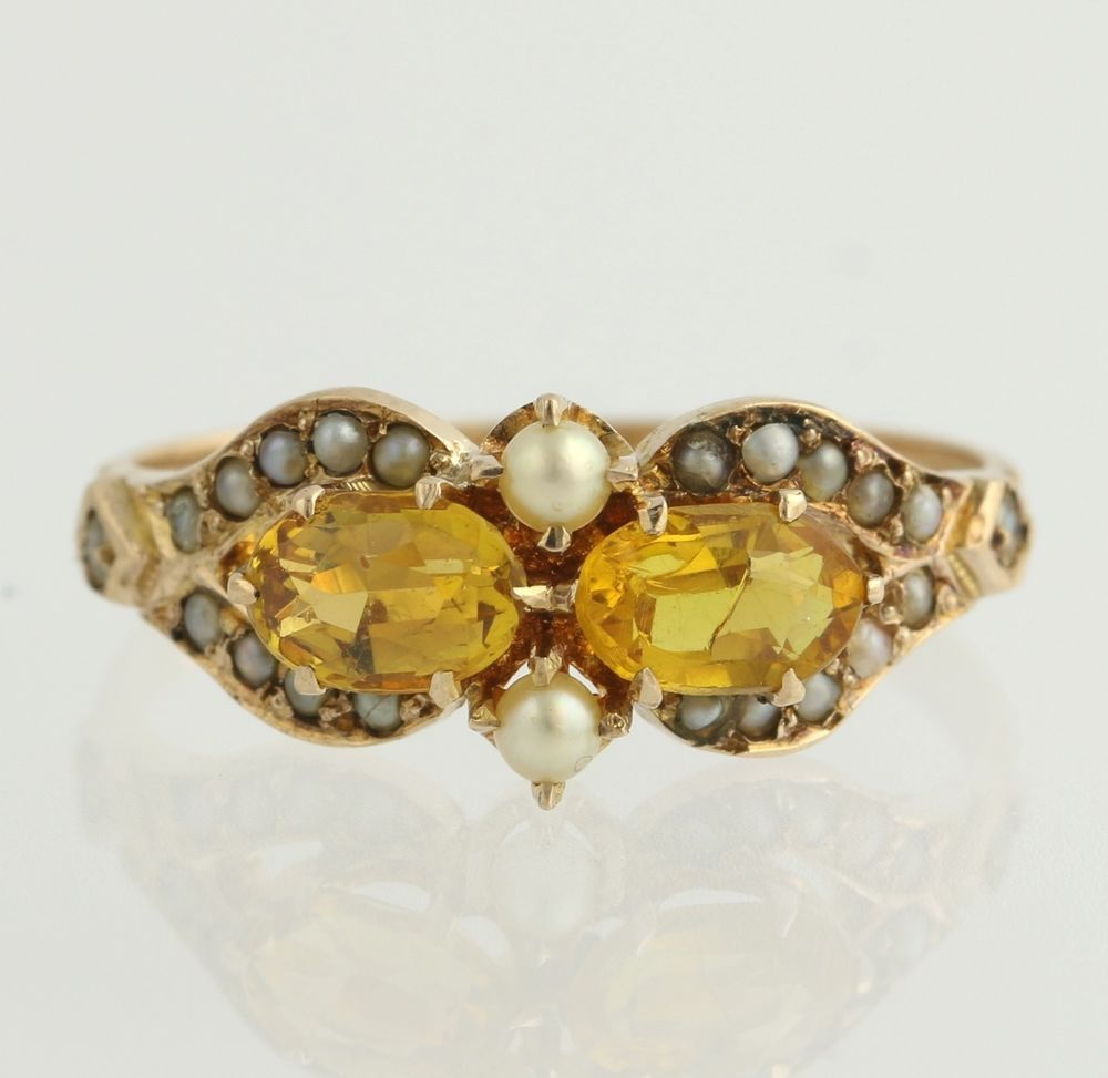 Victorian Citrine Seed Pearl Ring 10k Yellow Gold Band Women S Estate Sz 6 5 Seed Pearl Ring Gold Bands Pearl Ring