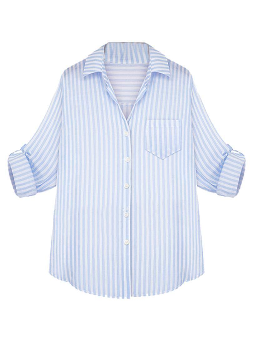 610826dac120db light blue and white striped womens shirt - Google Search | Kara ...