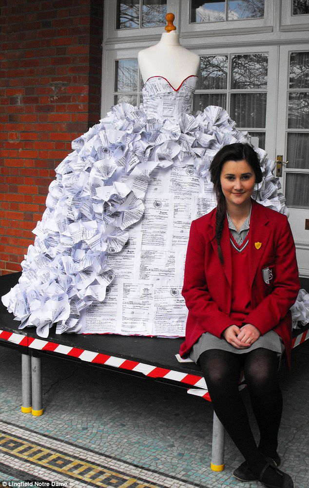 What started as a class project ended as a wedding dress made from 1500 actual divorce papers.