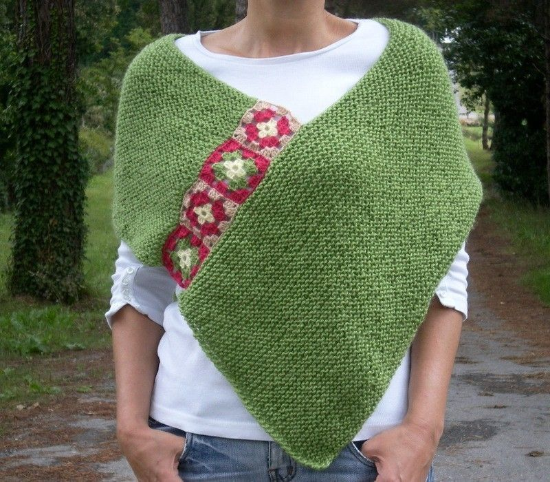 Green Afghan, Hand Knit Crochet Poncho- My Own Original Design ...