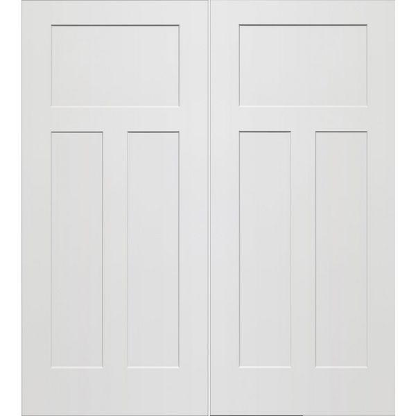 Prehung Interior Double Craftsman 3 Panel Door W Ball Catch Kastdeuren