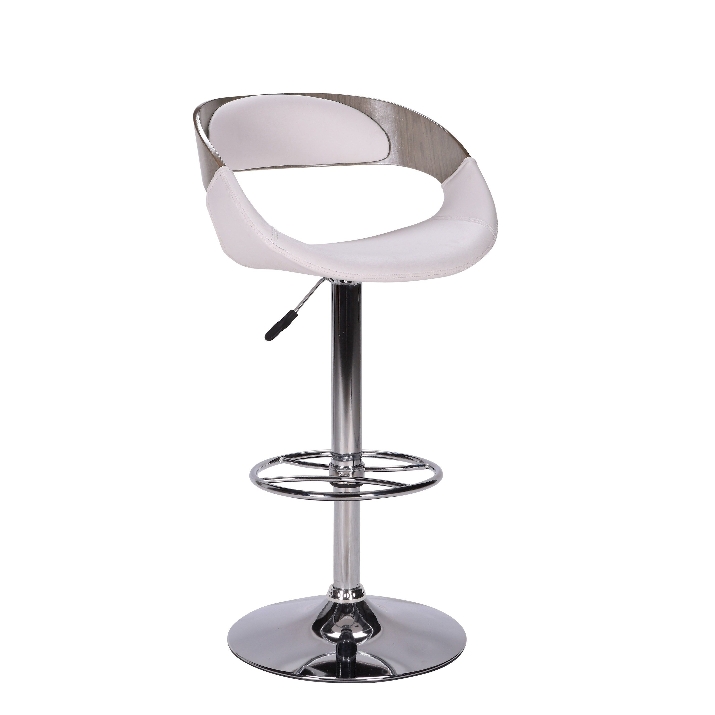 Somette 5231 Curved Open Wood Back Adjustable Stool White Faux