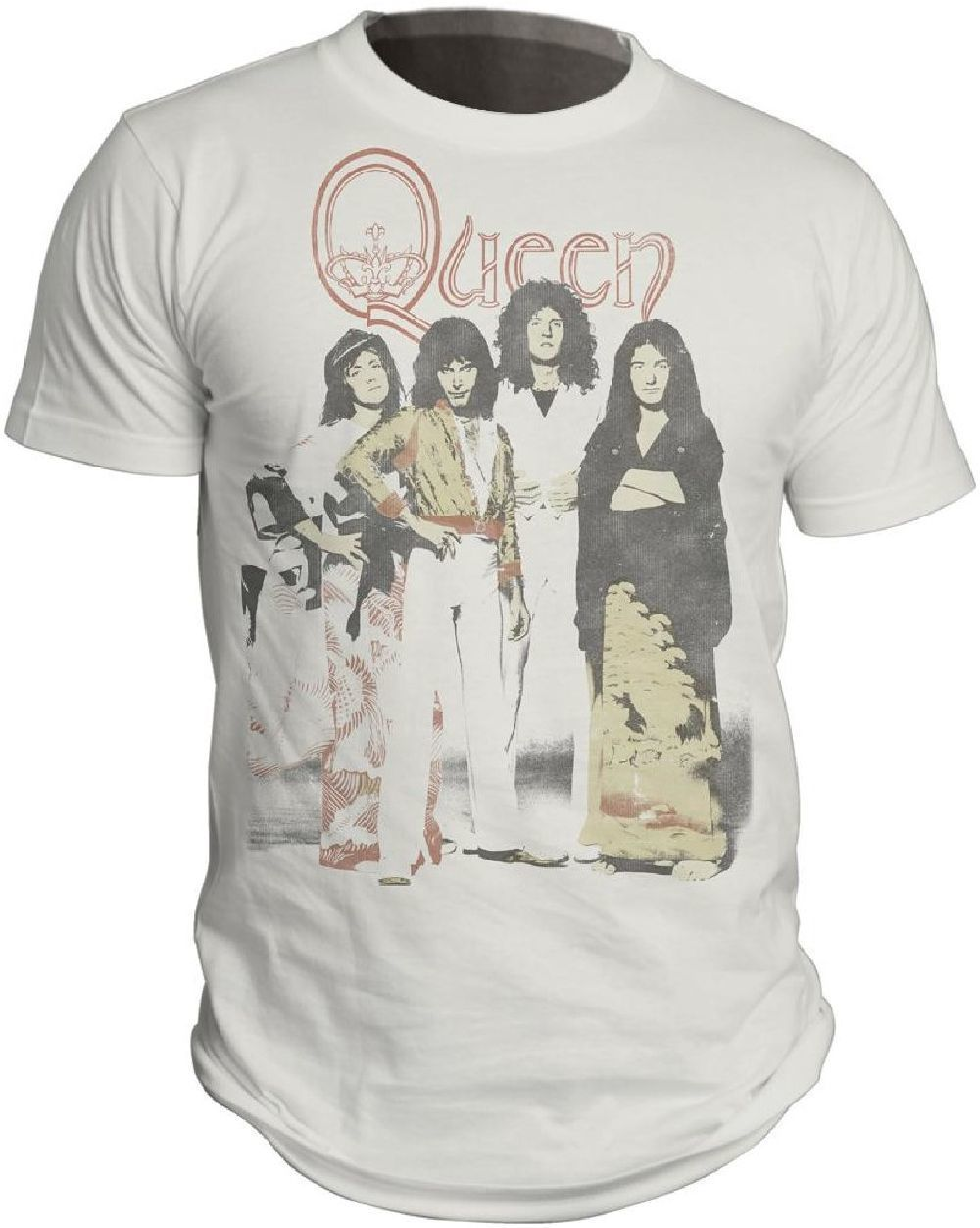 50884df1bdc Our vintage Queen t-shirt spotlights a classic photograph of the rock band.  Formed in 1970
