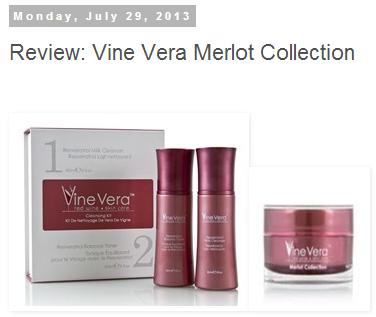 Critic Review Of Vine Vera Merlot Collection Vine Vera Resveratrol Skin Care Vera