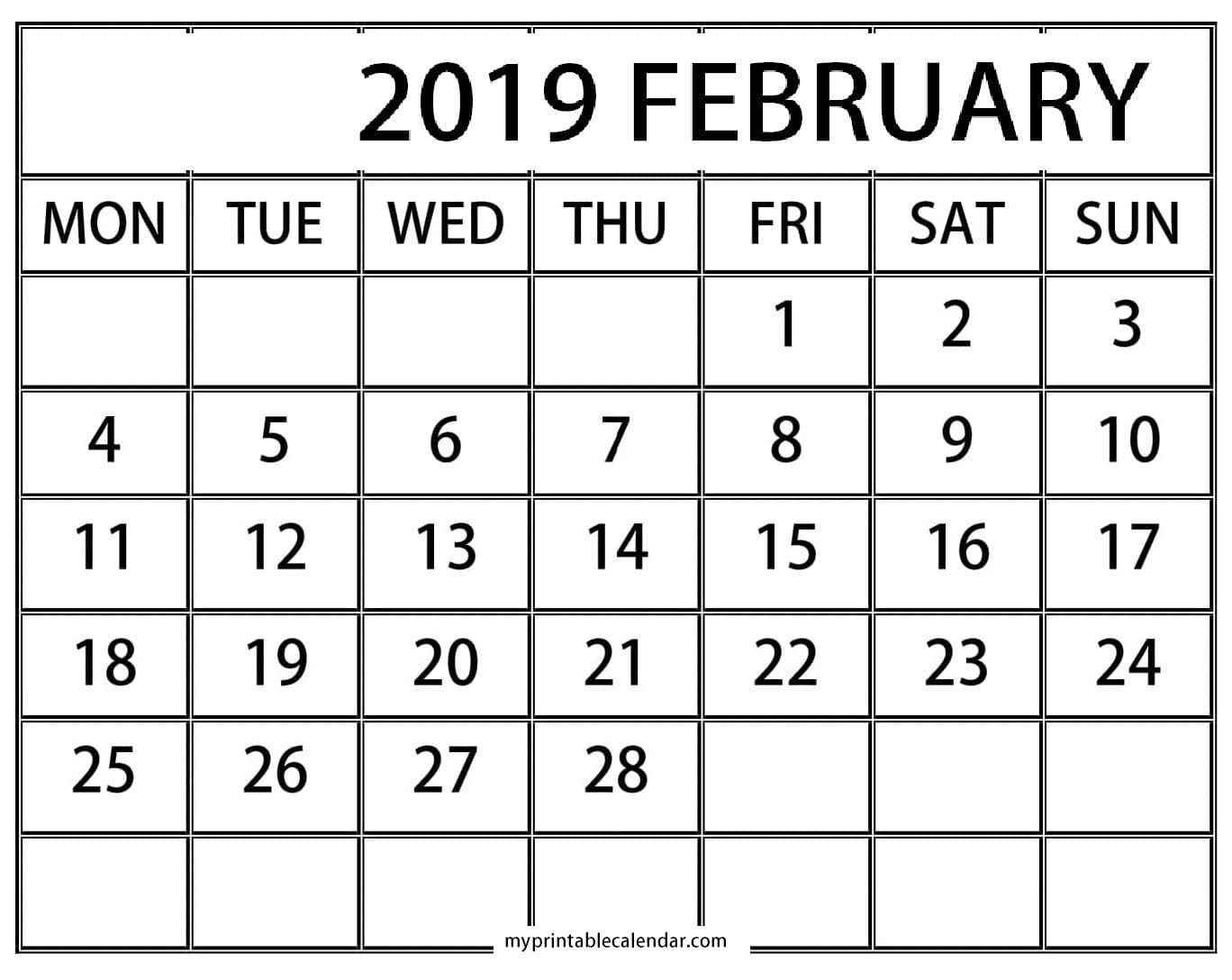 Blank Calendar February Worksheets