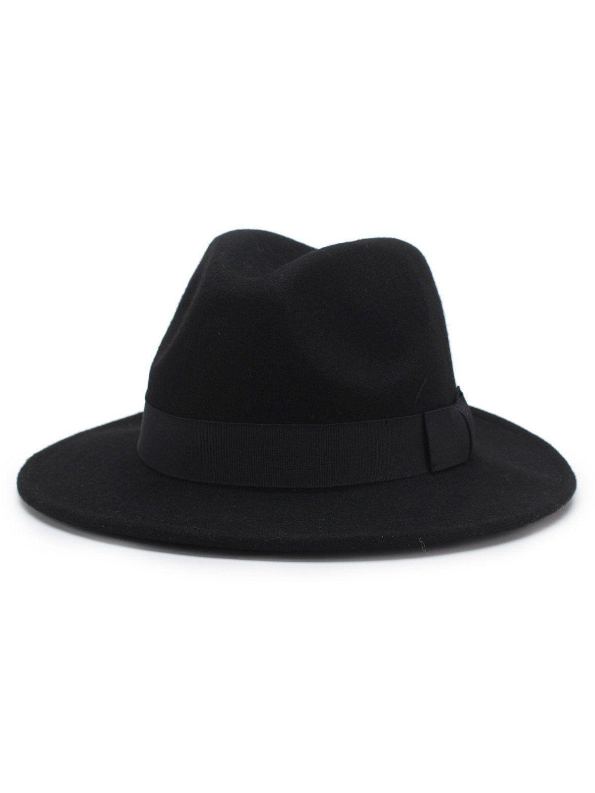 Bow Detail Wool Blend Panama Hat