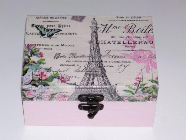 Boîte A Bijoux Tour Eiffel Décorée En Serviettage Déco - Eiffel chambre de la tour des idees de decoration