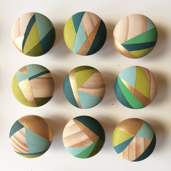 Olive. Bundle of 8 Hand painted green colourful door knobs handles ...