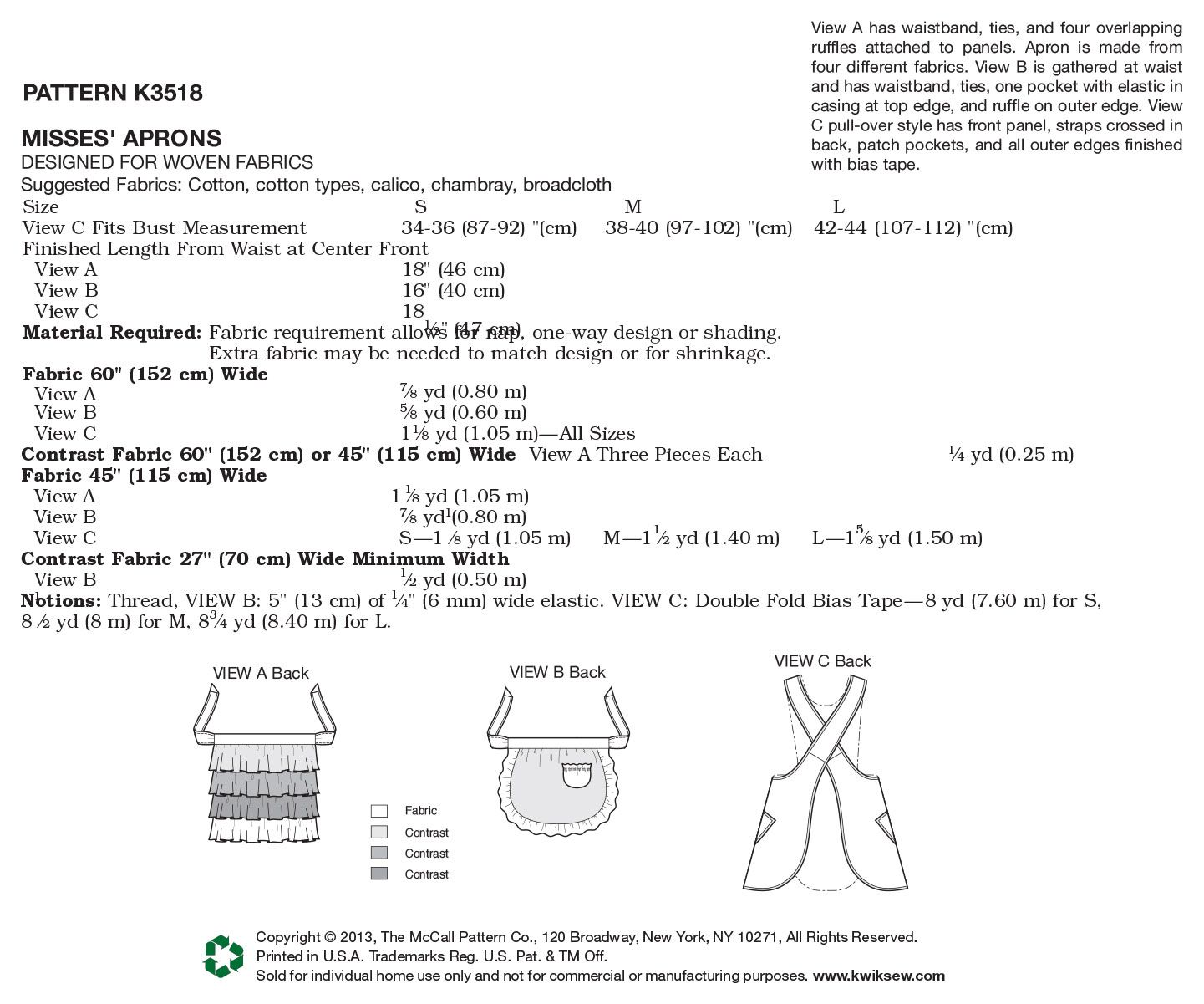 Kwik Sew Pattern K3518 Misses\' Aprons | Kwik sew patterns, Kwik sew ...