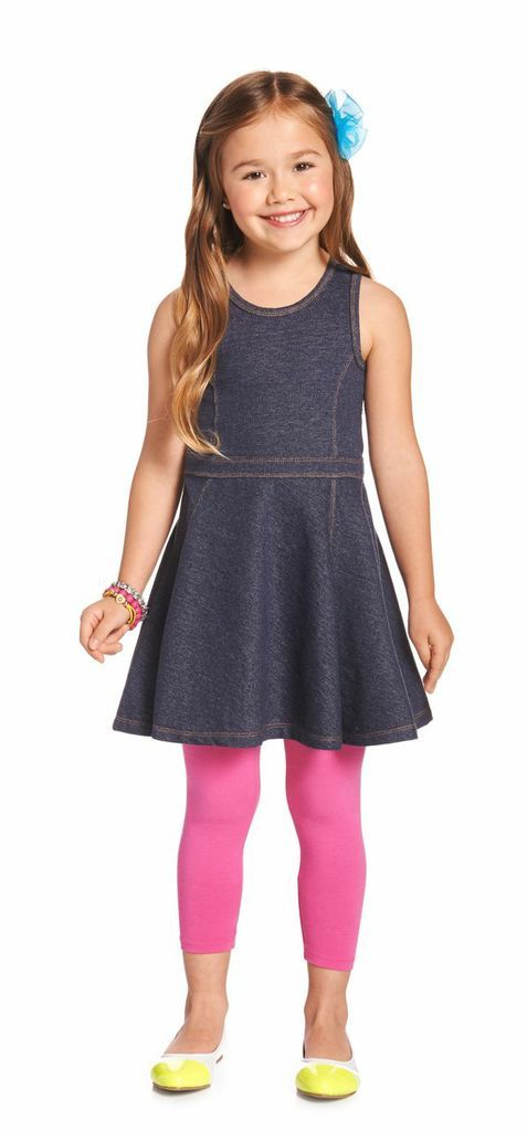 COLOR DENIM OUTFIT. We've paired our knit denim dress and hot pink leggings for an outfit that makes twirling and playing all day easy and look good! @FabKids #FabKidsSunnyDaysSweeps
