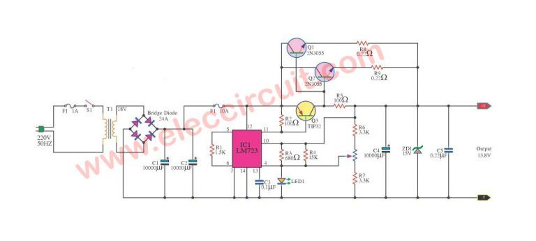 12v 10a Regulated Power Supply Circuit With Pcb Eleccircuit Com In 2020 Power Supply Circuit Power Supply Circuit