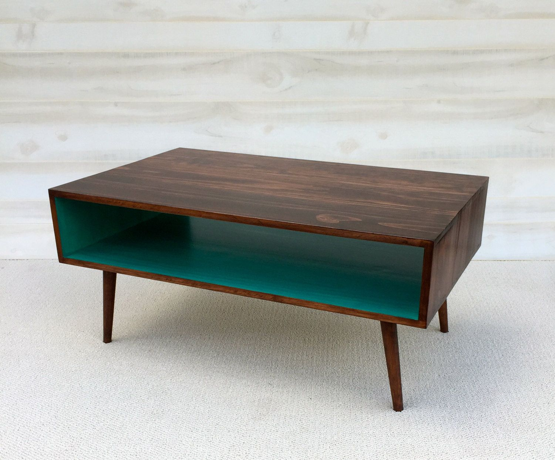 the slim: handmade coffee table mid century modern cherry cola and