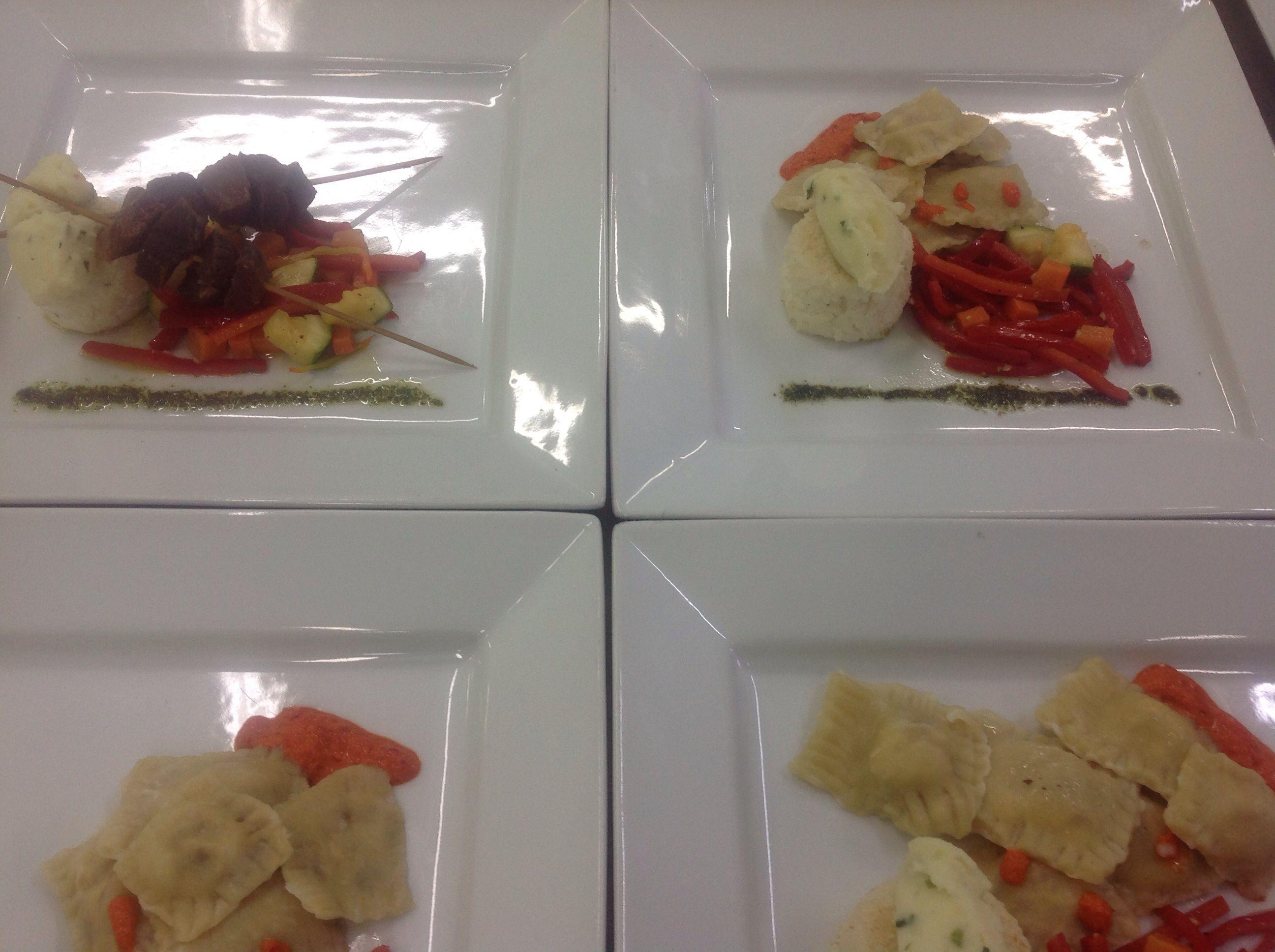 Ravioli with veg beef mash potatoes and rice cake.