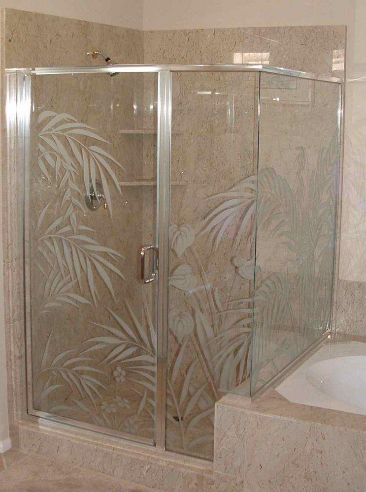 Etched Glass Shower Doors Etched Glass Shower Door Enclosure Ferns Anthurium Etched Glass Shower Doors Glass Shower Doors Door Glass Design