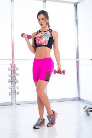 5dcddd2d58af2 Mapale Black Print Crop Top | Boudoir Dreams | Workout shorts, Gym ...