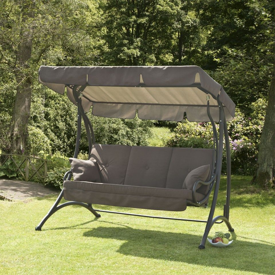 Superb Ferndown Chocolate Brown 3 Seater Garden Swing Seat. Swinging Ball Chair.  25 Bubble Chair