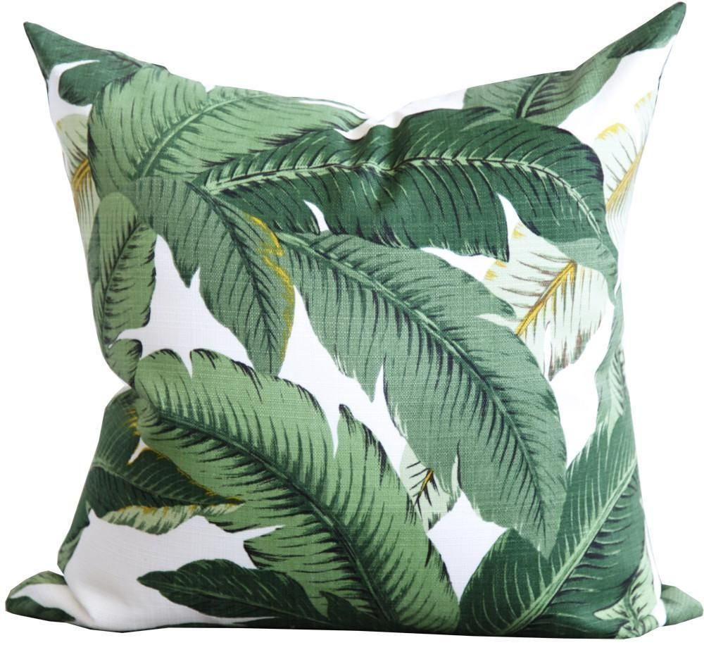 Isla Palm Print Throw Pillow Green White Indoor Outdoor