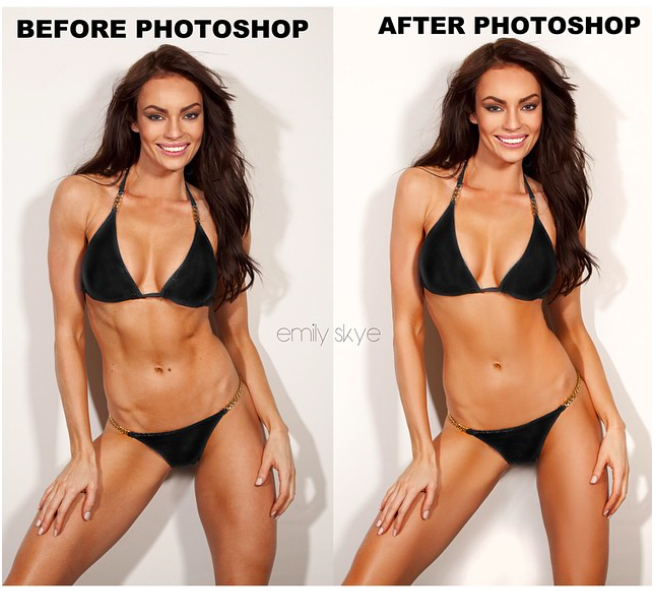 Fitness model Photoshopped to appear less fit.