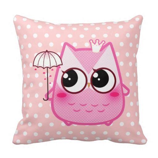 Kawaii pink owl with cute umbrella throw pillow | Zazzle.com #cuteumbrellas