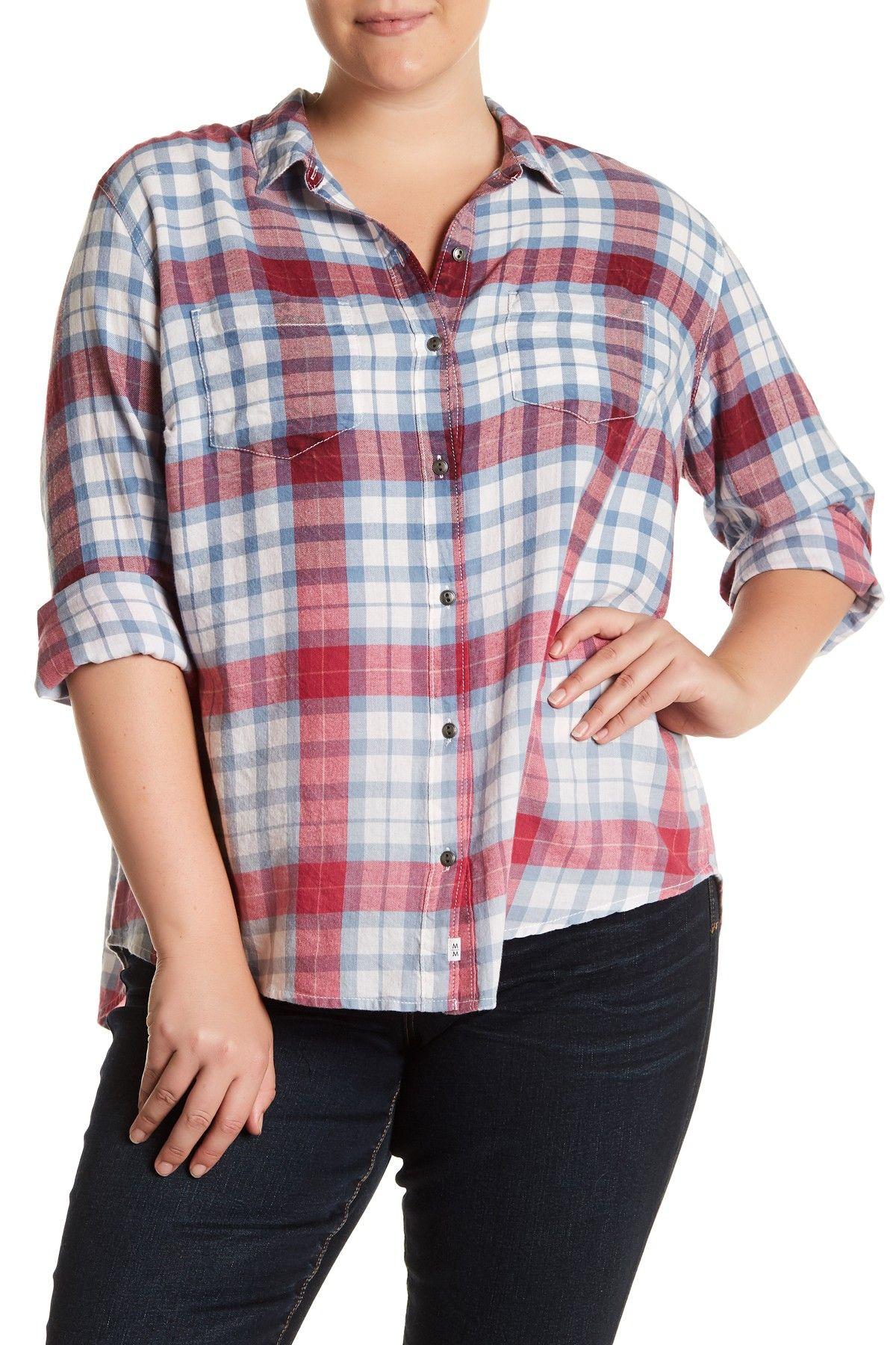 Dip-Dye Plaid Shirt (Plus Size)