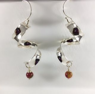Argentium sterling silver and jasper earrings. Hand forged anti clastic earrings. These hang 1.5 inches long ( almost 2 inches with the bead dangle) and  the ribbon width is 1/4 inch.
