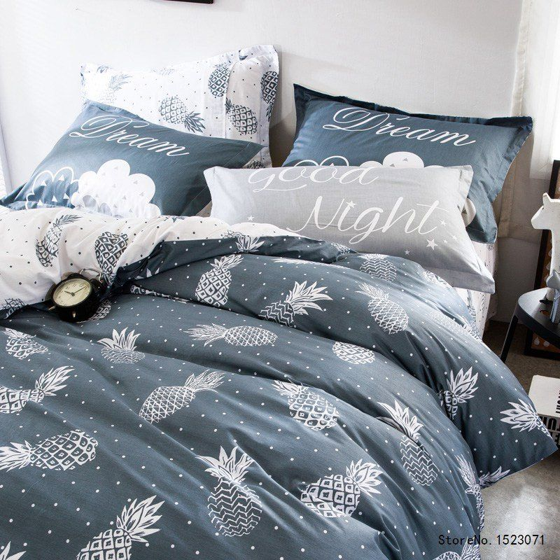 WINLIFE Leaves Printing Bedding Sets Black White Simple Duvet Cover with Pillowcase Twin