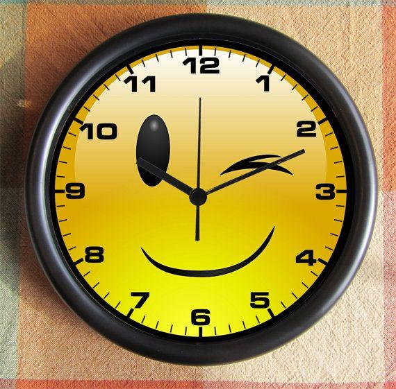 Emoji Wink And A Smile Back To School Big Full 10 Inch Black Etsy Black Wall Clock Clock Unique Clocks