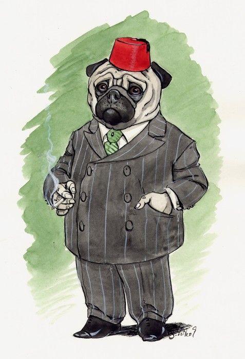 Colonial Pug Pug Art Dog Art Pugs