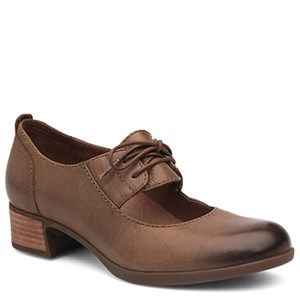 Dansko Linda Leather Taupe Shoes - HappyFeet.com