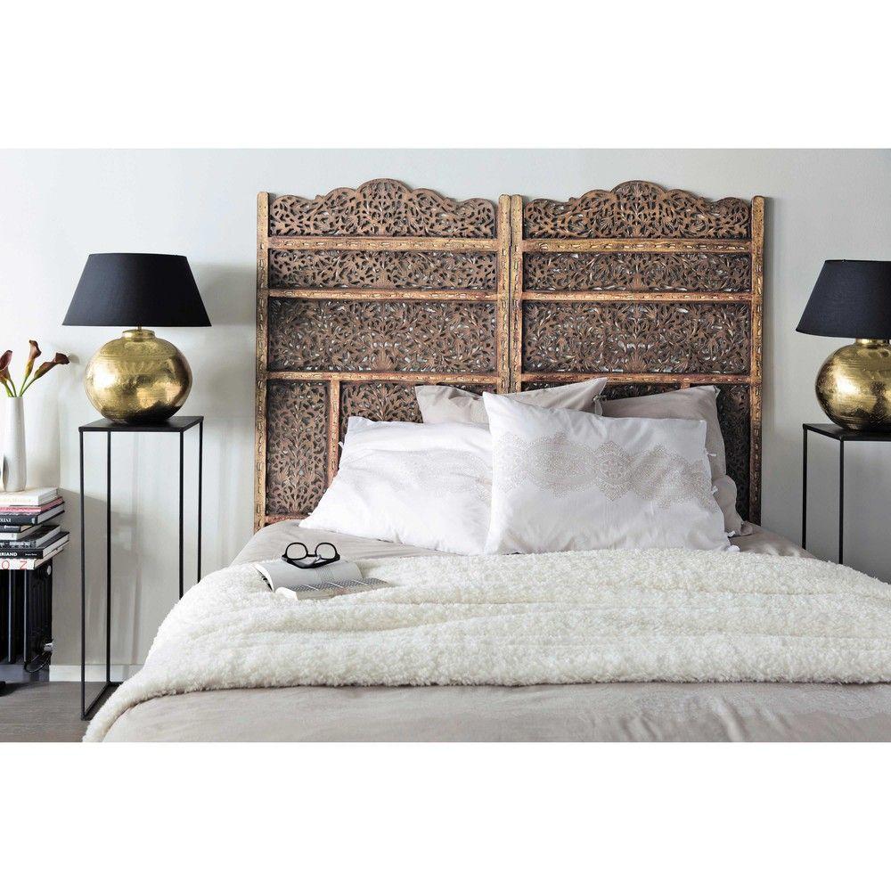 Lampe en métal effet doré et abat-jour en tissu H 49 cm | Maisons du ...