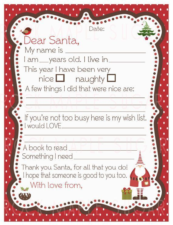 16 Free Letter To Santa Templates For Kids School Pinterest