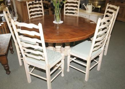 Painted Country Table Set Ladderback Chairs