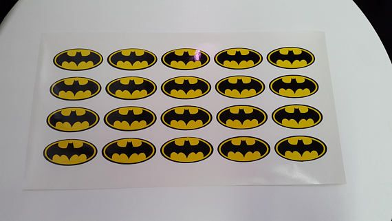 Batman logo stickers for glasses plates napkins envelopes batman logo decals baby shower vinyl batman decalsbatman party the size of the sticker
