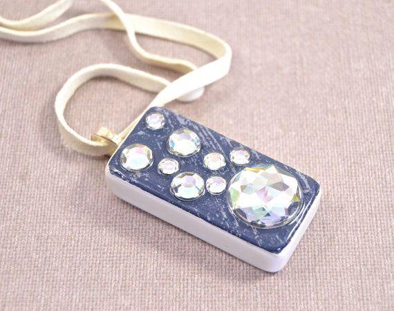 Denim Western Girl Bling Domino Pendant Necklace on Etsy, $17.00
