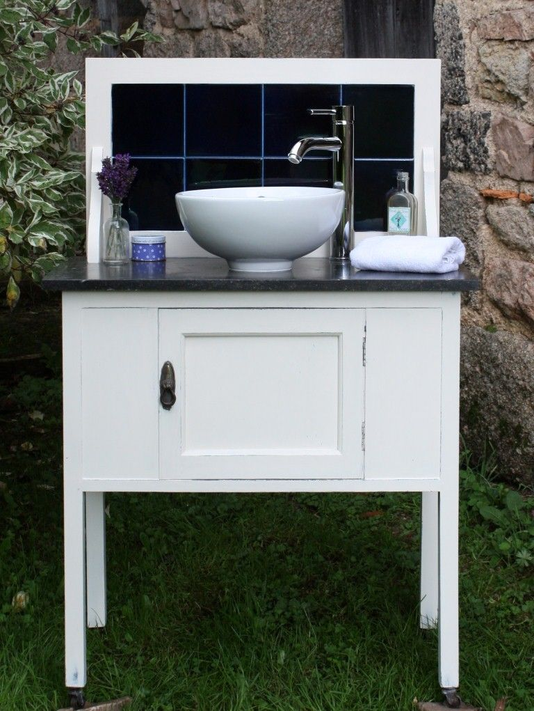Antique marble top wash stand converted to sink and tap
